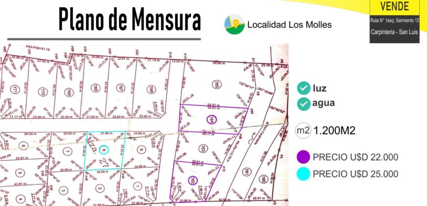 LOTE DE 1102M2 EN LOS MOLLES